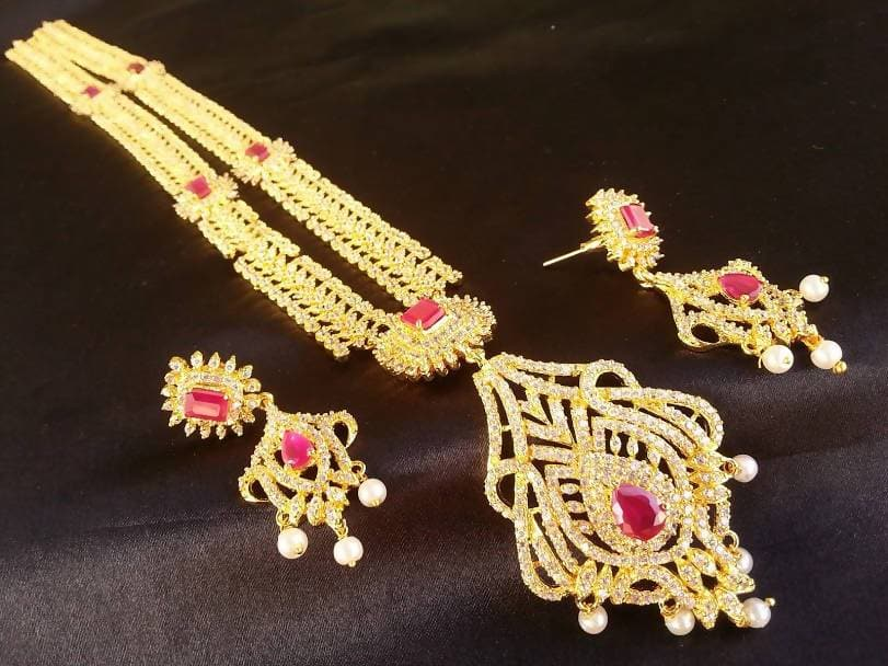 AD Ruby Bridal Long Traditional Necklace Set
