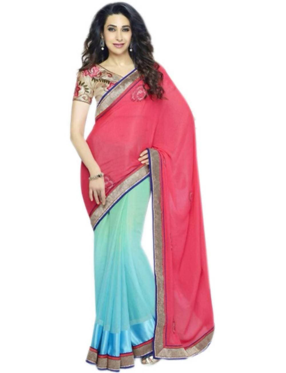 Vamika Karisha kapoor Multicolour Heavy work Blouse Saree