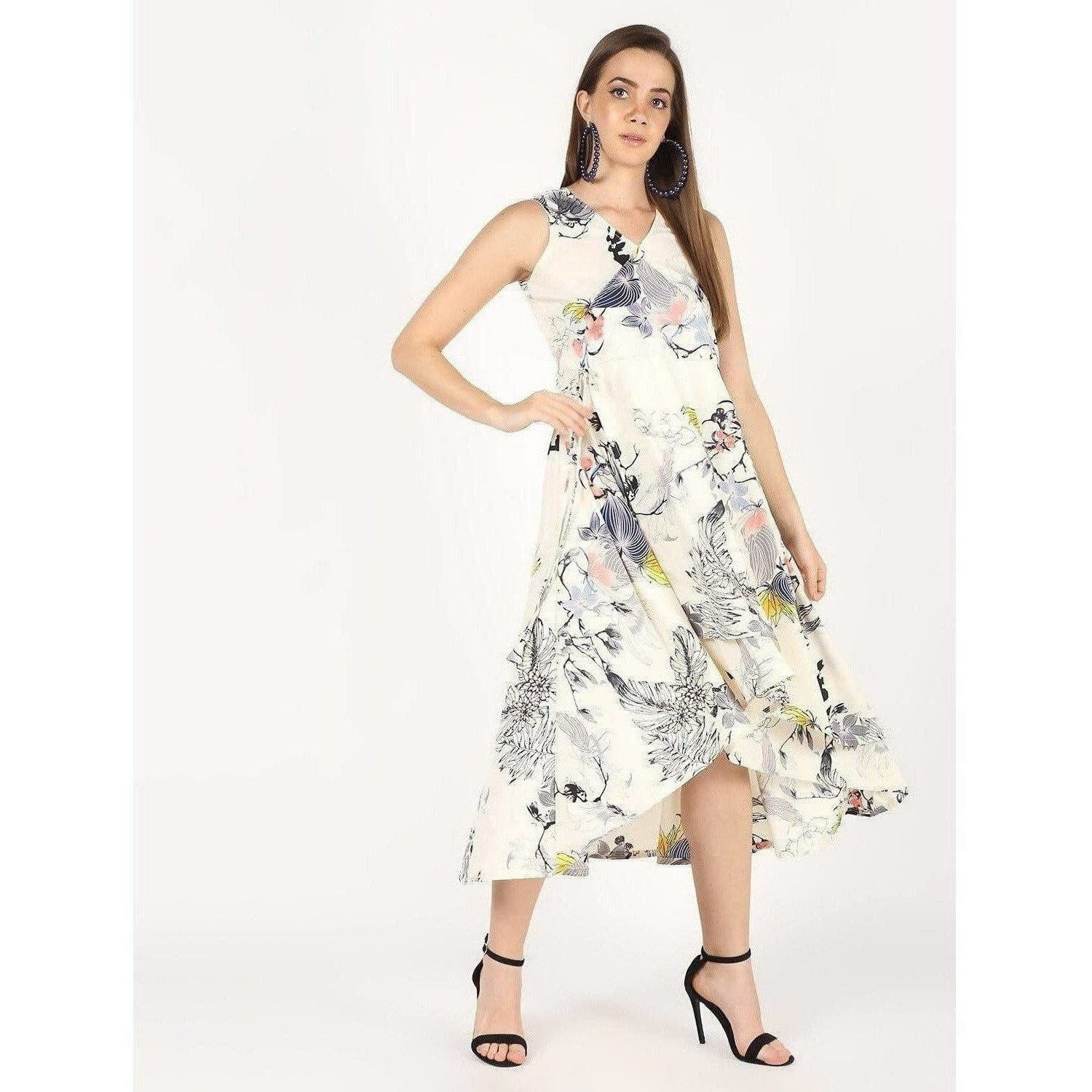 Cheera Flowral Printed Flair With Drowsting Party Dress