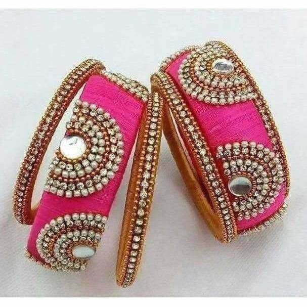 Pink Color Silk Threaded Bangle Set