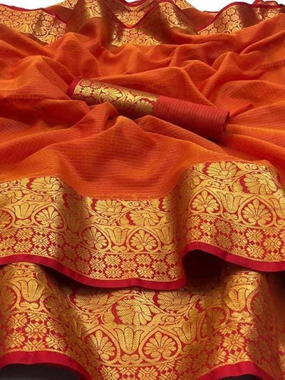 Arfa Soft Cota Doria Saree with Weaving Jaquard Pattu - Distacart