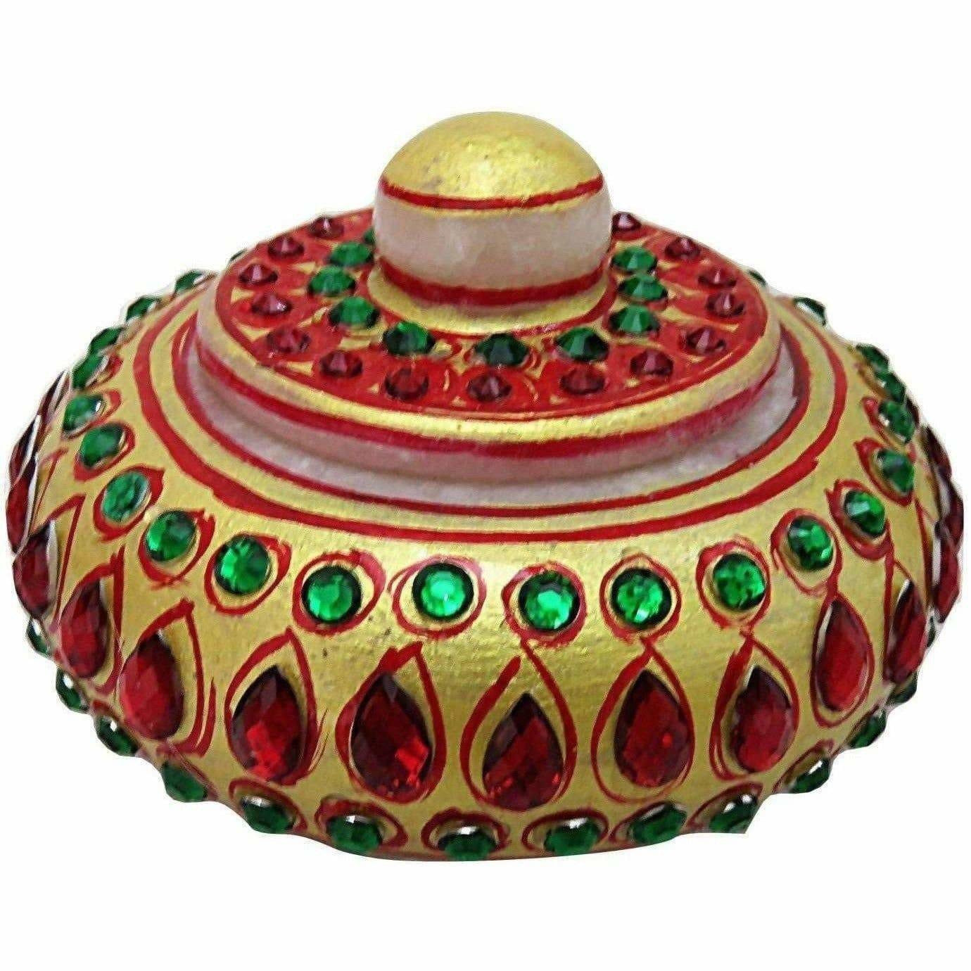 Handmade Traditional Marble Sindoor Dani/Kumkum Box with Meenakari Work