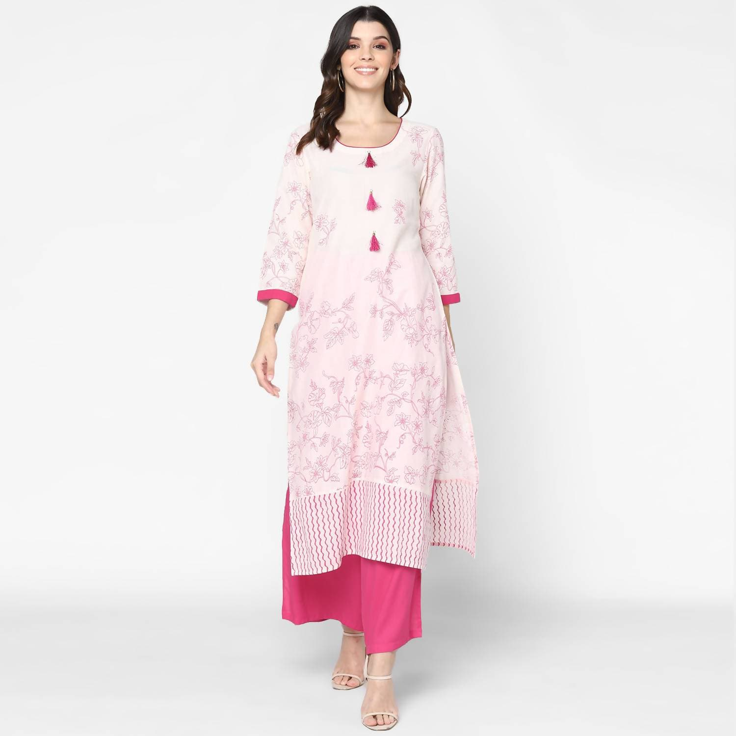 Cheera Hand Block Print Cream & Magenta Straight Kurta With Palazzo (MAAI-080K)