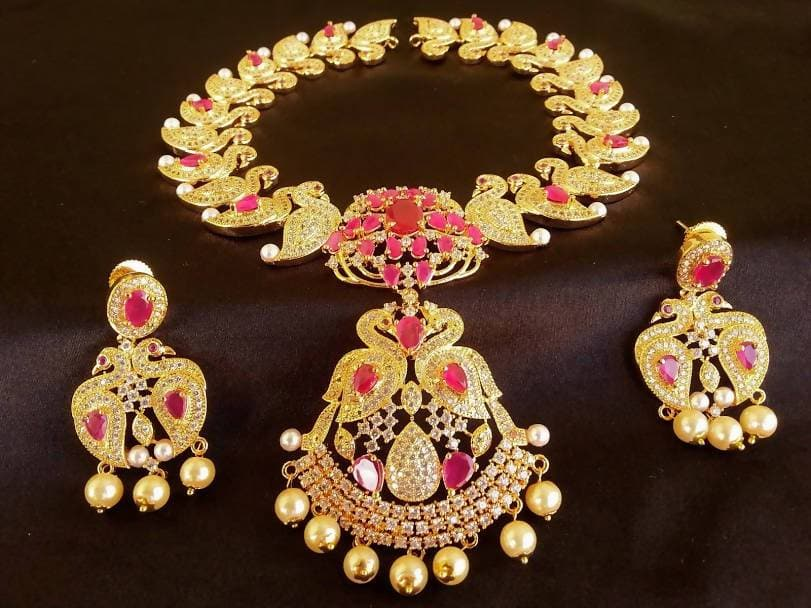 AD Ruby Peacock Bridal Jewelry Set
