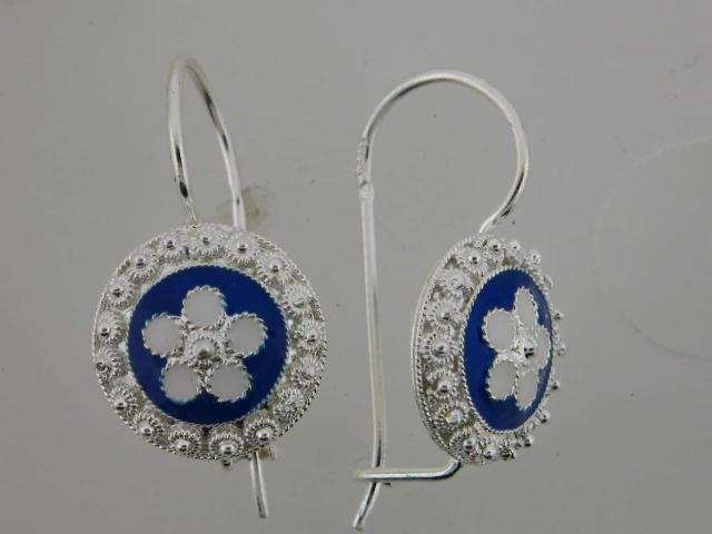 026784 - Sterling Silver Portuguese Traditional Enamel Earrings - Columbia Jewelers, Fall River, Massachusetts, USA