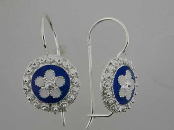 Sterling Silver Portuguese Traditional Enamel Earrings
