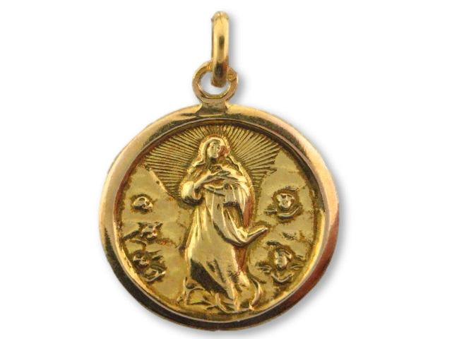 "1007 - 19.2k Portuguese Gold Round (20.5mm) ""Our Lady of Conception"" Medal - Columbia Jewelers, Fall River, Massachusetts, USA"