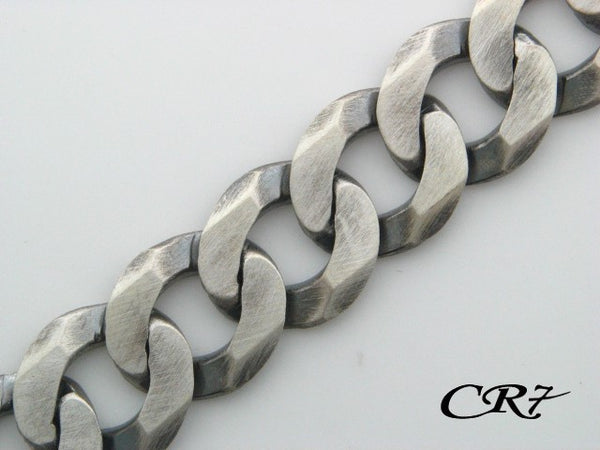 103.4642 - Sterling Silver CR7 Collection Men Solid Curb Link Bracelet - Columbia Jewelers, Fall River, Massachusetts, USA