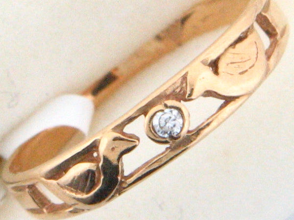19.2k Portug.Gold Two Ducks & CZ  Kids Ring