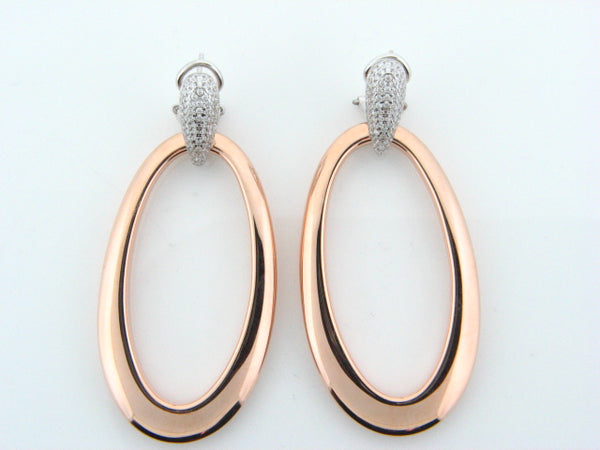 11410978 - Sterling Silver Gold Plated Two Tones Earrings with CZ's - Columbia Jewelers, Fall River, Massachusetts, USA
