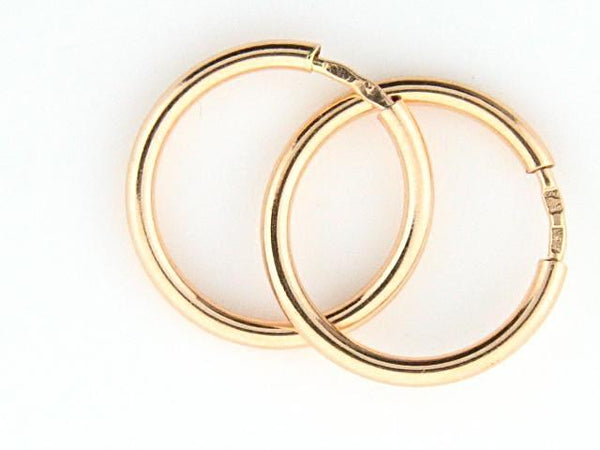 19.2k Gold Plain Hoops Earrings (2mm thickness)