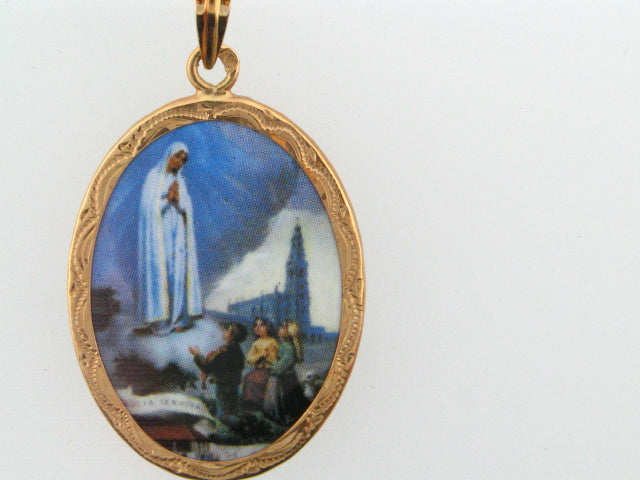 "ZMD24 - 19.2k Portug.Gold Enamel ""Our Lady of Fátima"" Double Face Medal - 24x18mm - Columbia Jewelers, Fall River, Massachusetts, USA"