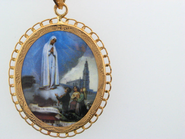 "19.2k Portug.Gold Enamel ""Our Lady of Fátima"" Double Face Medal"