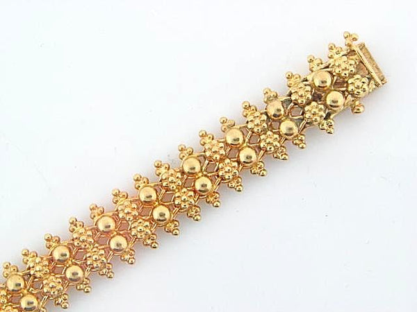 1949 - 19.2K Portuguese Gold Flowers/Half Balls Ladies Bracelet - Columbia Jewelers, Fall River, Massachusetts, USA