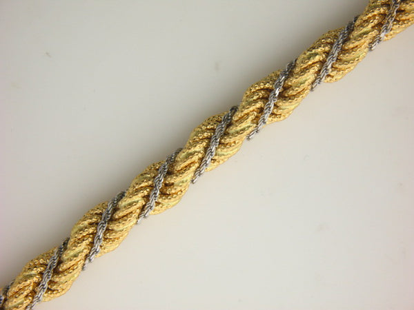 GMC1 - 19.2k Two Tones Portuguese Gold Ladies Rope Bracelet - Columbia Jewelers, Fall River, Massachusetts, USA