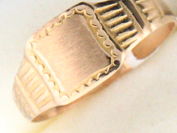5043 - 19.2k Portuguese Gold Square ID Kids Ring - Columbia Jewelers, Fall River, Massachusetts, USA