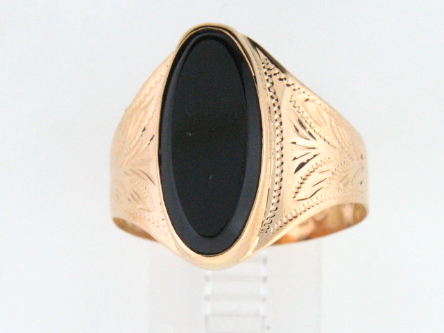 5120 - 19.2kt Portuguese Gold Ladies Engraved Ring with Black Onix Stone - Columbia Jewelers, Fall River, Massachusetts, USA