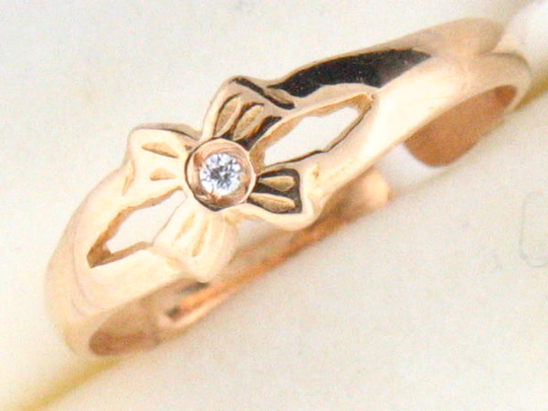 19.2k Portug.Gold Flower Design C.Z. Kids Ring