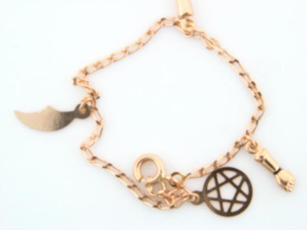 "19.2k Portug.Gold ""Good Luck"" Charms Kids Cable Bracelet"