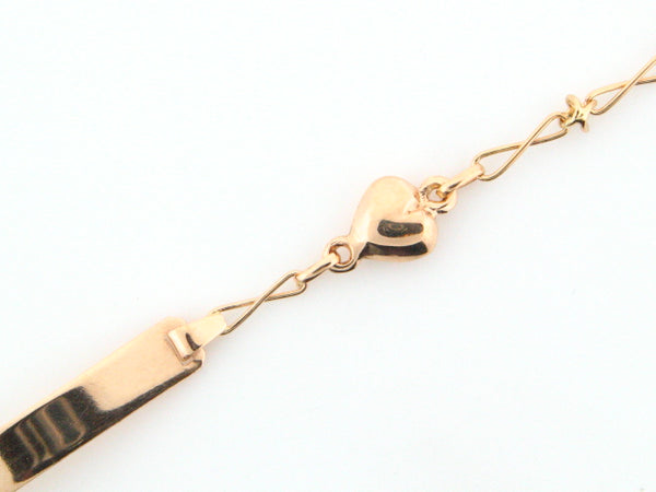 6267 - 19.2k Portug.Gold Hearts Kids ID Bracelet - Columbia Jewelers, Fall River, Massachusetts, USA