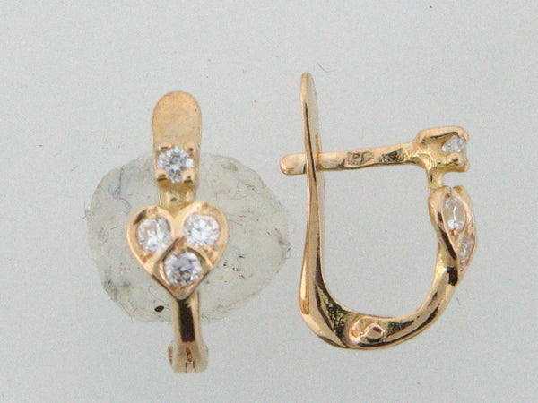 6628 - 19.2k Portuguese Gold Kid's C.Z. Earrings - Columbia Jewelers, Fall River, Massachusetts, USA