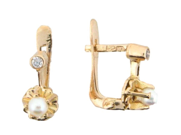19.2k Portuguese Gold Pearl Kids Earrings