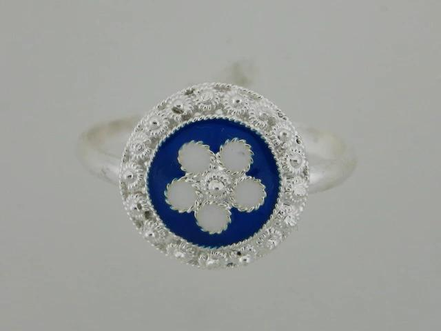 6830 - Sterling Silver Portuguese Traditional Enamel Ring - Columbia Jewelers, Fall River, Massachusetts, USA