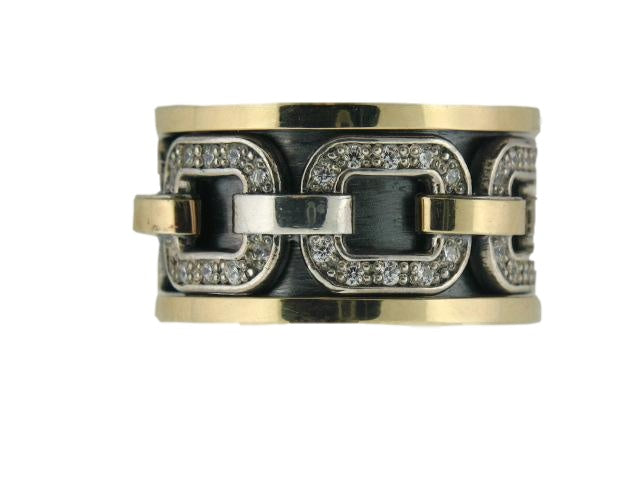 "Sterling Silver & 19.2k Gold ""Anti Stress"" Spinner Band with CZs"