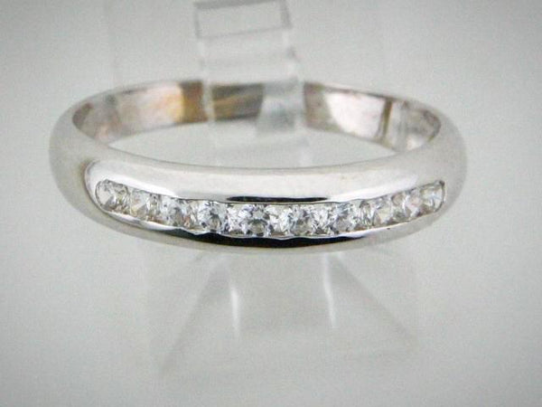0380 - 19.2kt White Portuguese Gold Wedding Band with CZs - Columbia Jewelers, Fall River, Massachusetts, USA