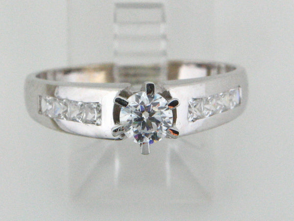 0406 - 19.2kt Portuguese Gold Ladies Engagement Ring with CZs - Columbia Jewelers, Fall River, Massachusetts, USA
