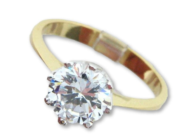 10247 - 19.2kt Two Tones Portuguese Gold Solitaire CZ Ring - Columbia Jewelers, Fall River, Massachusetts, USA