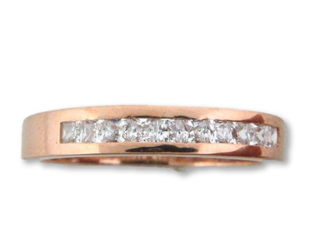 10657YG - 19.2kt Portuguese Gold Wedding Band with CZs - Columbia Jewelers, Fall River, Massachusetts, USA