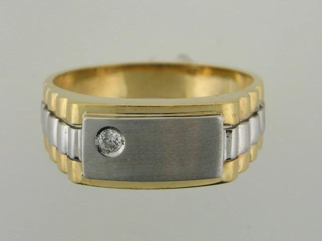 204 - 19.2kt Portuguese Gold Two Tones Men Solitaire Ring With CZ - Columbia Jewelers, Fall River, Massachusetts, USA