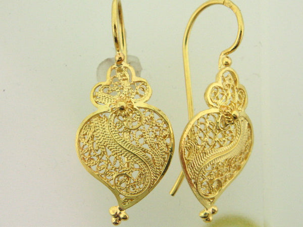 "VIANA - 19.2Kt Portuguese Gold ""Viana Heart"" Filigree Earrings - Columbia Jewelers, Fall River, Massachusetts, USA"