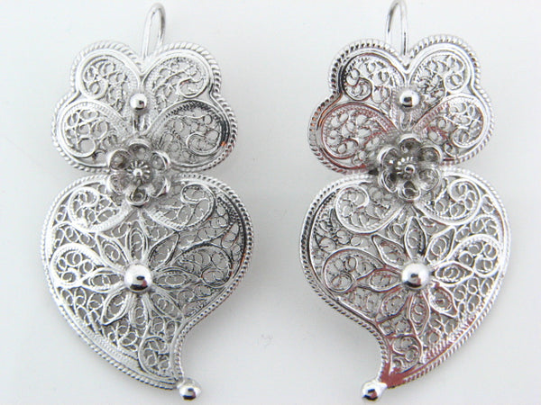 Sterling Silver Filigree Viana Heart Earrings