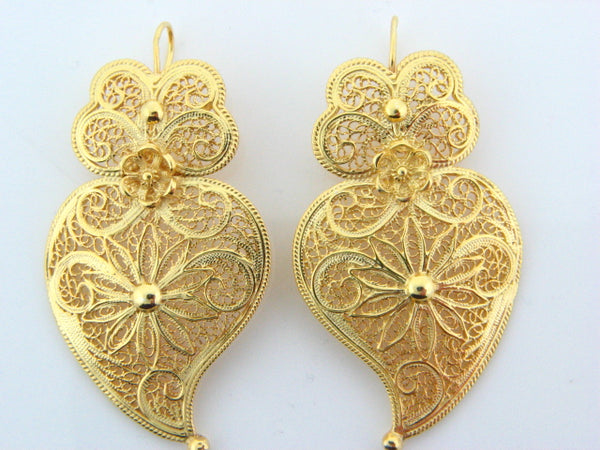 BRVIANA - Sterling Silver Filigree Viana Heart Earrings (Gold Plated) - Columbia Jewelers, Fall River, Massachusetts, USA
