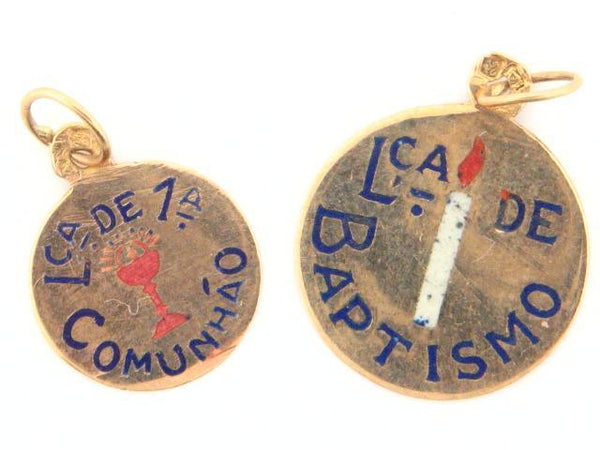 19.2k Portuguese Gold Solid Flat Traditional Words Medal - (Baptism & Communion Theme)