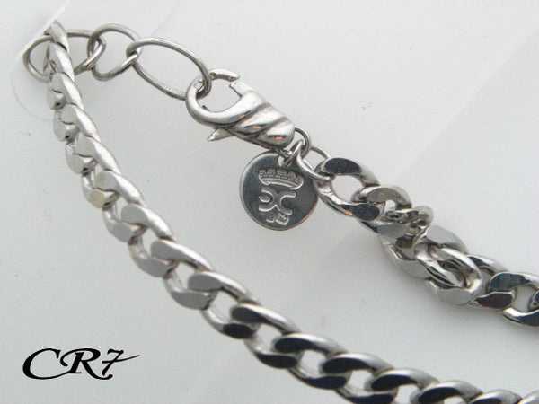 Sterling Silver CR7 Collection Men Solid Curb Link Bracelet