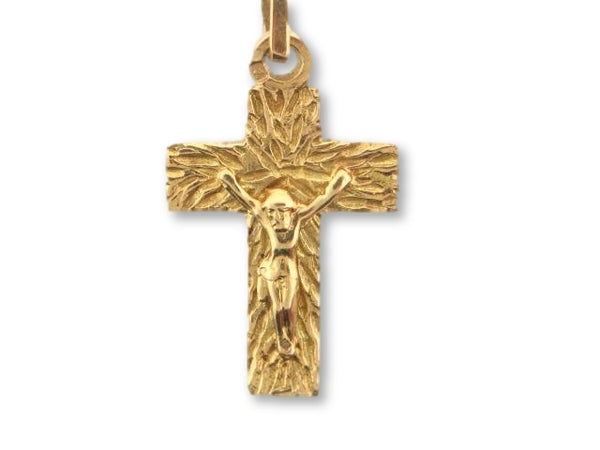 00233 - 19.2K Portuguese Gold Solid Crucifix - Columbia Jewelers, Fall River, Massachusetts, USA