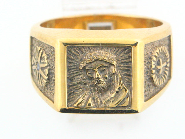 Sterling Silver Gold Plated ECCE HOMO Men Ring With Cubic Zirconia
