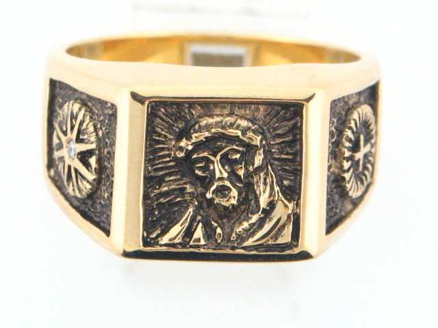 J17527AD - 19.2K Portuguese Gold ECCE HOMO Men Ring With Diamond - Columbia Jewelers, Fall River, Massachusetts, USA