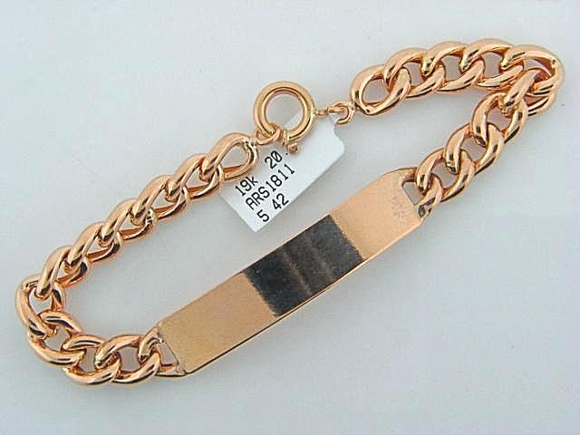 19.2K Portuguese Gold Men Hollow ID Curb Bracelet