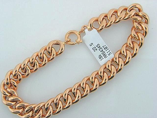 4345 - 19.2K Portuguese Gold Men Hollow Curb Bracelet - Columbia Jewelers, Fall River, Massachusetts, USA