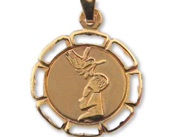 172 - 19.2k Portuguese Gold Solid Communion Medal (Boy) - Columbia Jewelers, Fall River, Massachusetts, USA