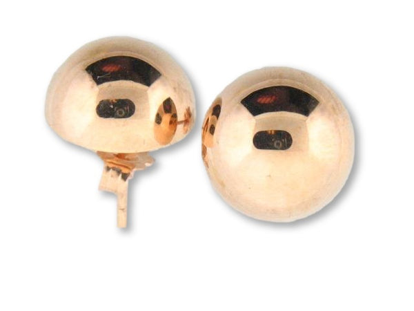 19.2k Gold Stud Half Ball Earrings (Friction-Back)