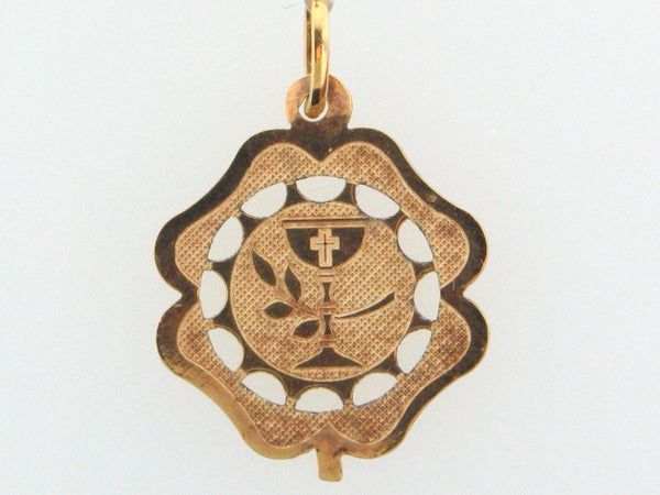 JOL-37 - 19.2k Portuguese Gold Solid Communion Medal - Columbia Jewelers, Fall River, Massachusetts, USA
