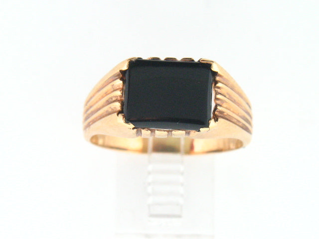 19.2k Portuguese Gold Solid Ring with Genuine Rectangular Onix Stone