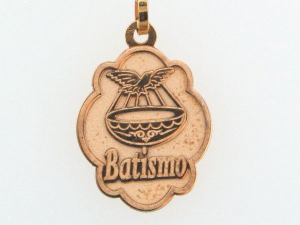 "5758 - 19.2k Portuguese Gold Solid ""Batismo"" Medal - Columbia Jewelers, Fall River, Massachusetts, USA"