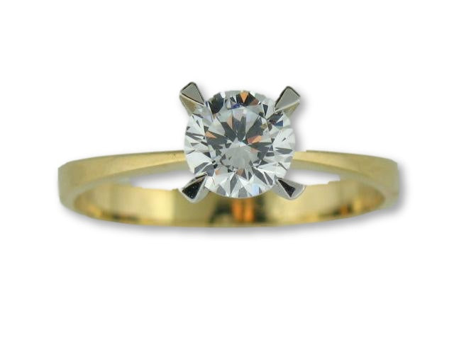 10156 - 19.2kt Two Tones Portuguese Gold Solitaire CZ Ring - Columbia Jewelers, Fall River, Massachusetts, USA