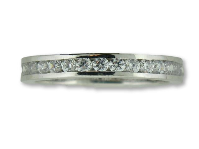 19.2kt Portuguese White Gold Wedding Band with Round CZs